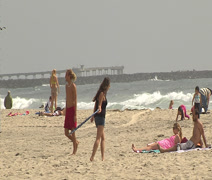 Friends enjoying Mission Beach, San Diego - stock footage