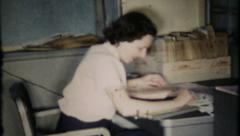 419 - generic office work in the 1950's - vintage film home movie - stock footage