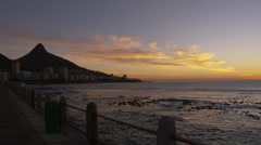 Lion's Head from the Sea Point Promenade Stock Footage