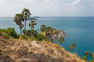 Stock Photo of view of the andaman sea from the viewing point, phuket , south of thailand.