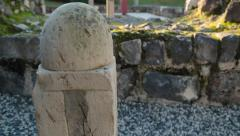 Ancient Marble Column in Garden at Sea of Galilee  (HD) Stock Footage