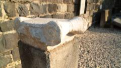 Zoom Out on Column from 4th Century Synagogue Stock Footage