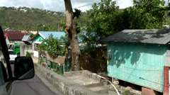 St. Lucia Soufrière area  077 village sightseeing out of a driving mini bus Stock Footage