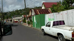 St. Lucia Soufrière area  078 driving through a typical village - stock footage