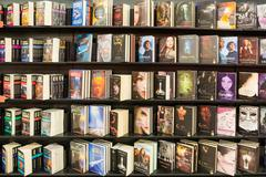 Science Fictions Books Displayed On Library - stock photo