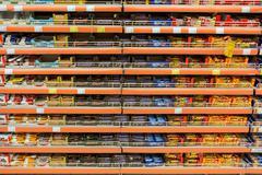 Chocolate Sweets On Supermarket Shelf - stock photo