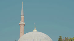 The dome and minaret of the Hagia Sophia in Istanbul in HD Stock Footage