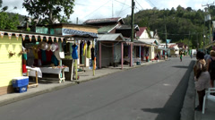 St. Lucia Soufrière area  080 see along a street in a village - stock footage