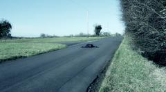 Stock Photo of Motorcyclist prone on tarmac road