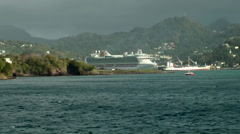 St. Lucia Castries  093 leaving the island with cruise ship Stock Footage