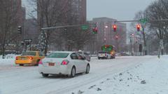 White Plains Winter Traffic 1 Stock Footage