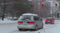 White Plains Winter Traffic 2 Stock Footage