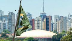 Waving brazilian flag on Sao Paulo Stock Footage
