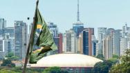Stock Video Footage of Waving brazilian flag on Sao Paulo