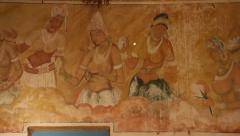 Sri Lanka_Mural in temple at Pidurangala Stock Footage