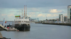 Berth for large ships on the river Liffey . Dublin , Ireland Stock Footage