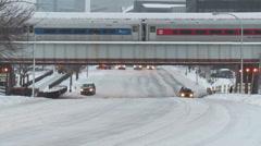 White Plains Metro-North Winter Departure 2 Stock Footage