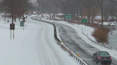 Bronx River Parkway Winter Traffic 1 Stock Footage