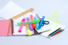 back to school, close-ups, school supplies - stock photo
