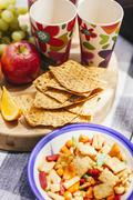 crispbreads and picnic snacks - stock photo