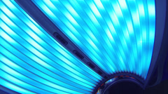 Inside The Hood of A Powered On Tanning Bed Stock Footage