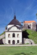 Czech Republic - Potstejn stronghold with church - stock photo