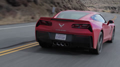 Corvette C7 Stingray Rear three-quarter camera follow Stock Footage