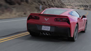 Stock Video Footage of Corvette C7 Stingray Rear three-quarter camera follow
