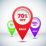 Set of 3D Colorful Map Markers Stock Illustration