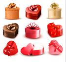 Stock Illustration of set of colorful gift heart-shaped boxes with bows and ribbons. vector illustr