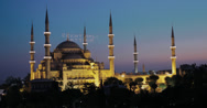Stock Video Footage of 4K video of the Sultanahmet Camii Blue Mosque in Istanbul at dusk