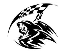 Black death demon with ckeckered flag Stock Illustration