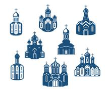 religious churches and temples - stock illustration
