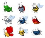 Stock Illustration of cartoon insects set