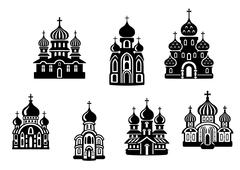 churchs and temples - stock illustration