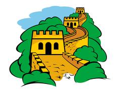 Great wall in china Stock Illustration