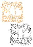fruits embellishment - stock illustration
