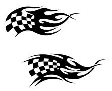 Chequered flag with flames Stock Illustration