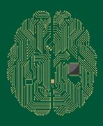 motherboard brain with computer chip - stock illustration
