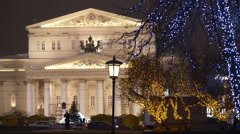Establishing shot. Christmas/New year time in Moscow. Bolshoy theater. - stock footage