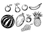 Stock Illustration of set of isolated fresh fruits