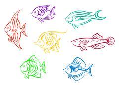 colorful aquarium fishes set - stock illustration
