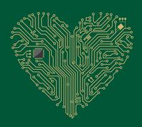 motherboard heart - stock illustration