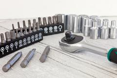 Socket set with a socket spanner or wrench Stock Photos