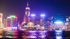 Hyperlapse video of Hong Kong from day to night - stock footage