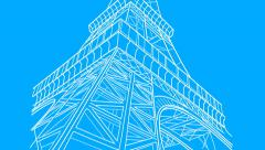 Eiffel Tower Drawing (HD) Stock Footage