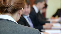 Business woman at the conference Stock Footage