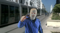 Public robbery rob train Stock Footage