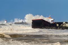 wrecked cargo - stock photo