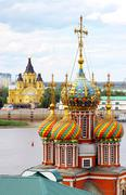 colorful domes of stroganov church and cathedral nevsky - stock photo